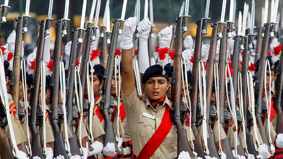 Rehearsals are on as policewomen march during the full-dress as India gears up for its 70th Independence Day celebration. REUTERS
