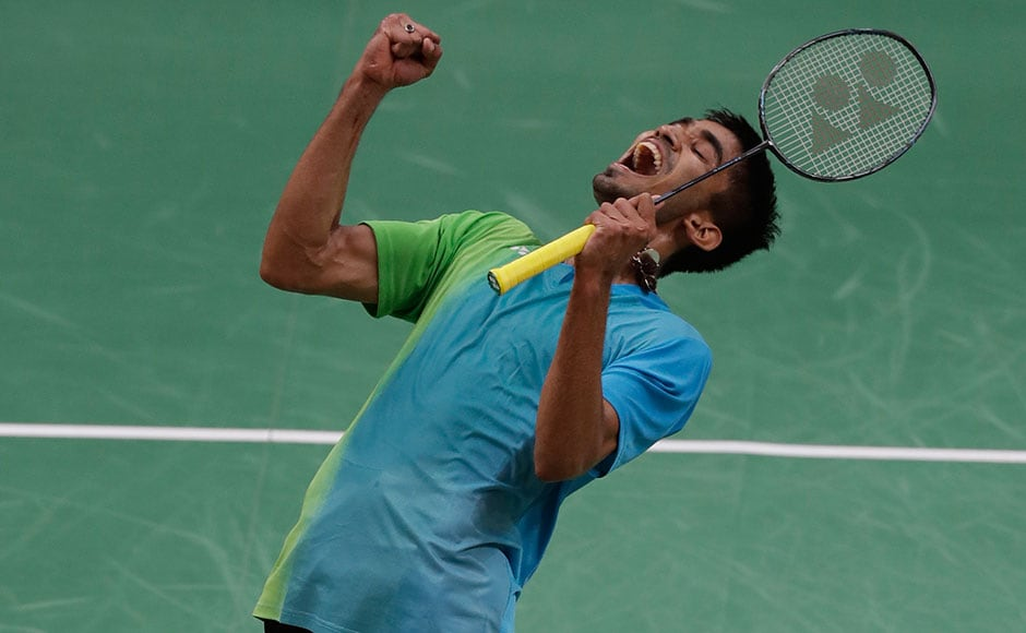 India's Srikanth Kidambi celebrates after beating Denmark's Jan O Jorgensen during a Men's single match at Rio Olympics. AP