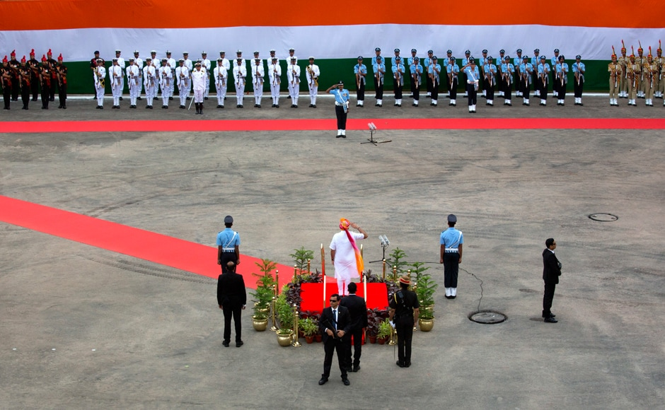 Indian Prime Minister Narendra Modi, inspects a guard of honor before addressing the nation from the ramparts of Red Fort to celebrate Independence Dayin New Delhi. Modi addressed the nation in his speech and covered issues of governance, progress of various government schemes, improvement in agriculture, women empowerment, financial growth, and the passage of the Goods and Services Tax (GST) in Parliament. AP