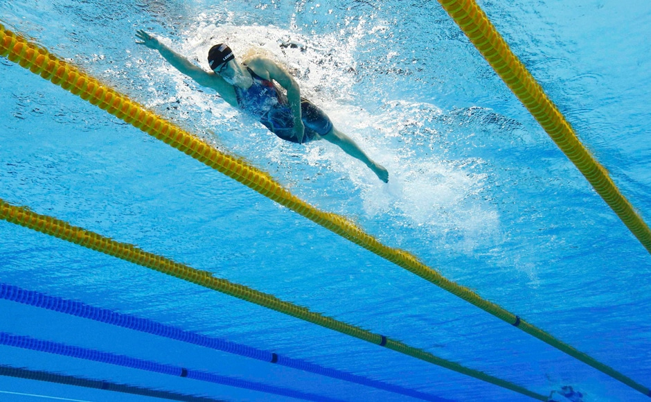Katie Ledecky of USA competes on her way to winning the gold and setting a new world record. Reuters