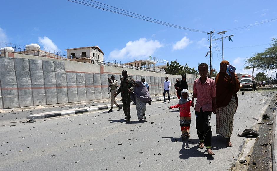 Somali security forces escort civilians following the bombing. 31 people got injured, which included some Cabinet ministers at the SYL hotel. The injured were taken to Mogadishu's Madina Hospital.