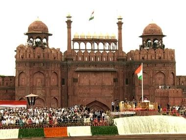 Prime Minister Narendra Modi at the Red Fort on Independence Day. Screengrab from YouTube