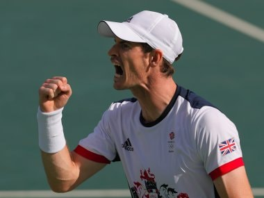 Andy Murray celebrates after beating Steve Johnson. AP