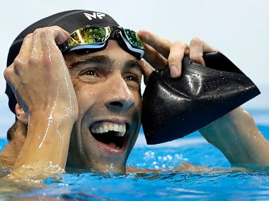 United States' Michael Phelps reacts after the men's 100-meter butterfly final. AP