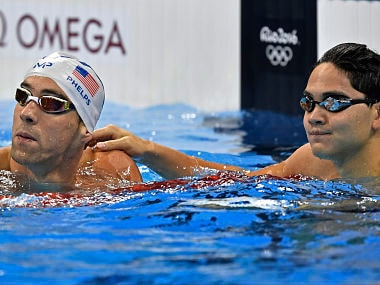 File photo of United States' Michael Phelps and Singapore's Joseph Schooling. AP