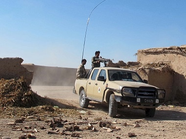 Afghan National Army (ANA) soldiers drive at an outpost in Helmand province. File photo Reuters