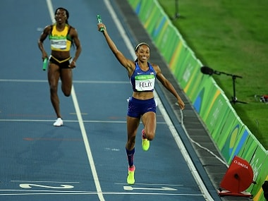 Allyson Felix of the US reacts after winning gold during the women's 4 x 400 metre relay. Getty Images
