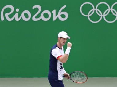 Andy Murray in action at the 2016 Summer Olympics in Rio de Janeiro. AP