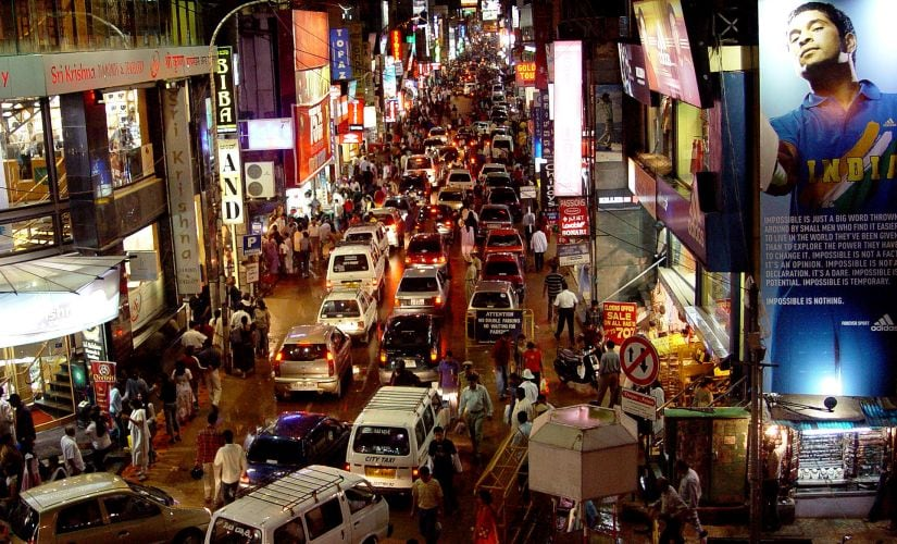 An evening on Commercial Street in Bengaluru. Reuters