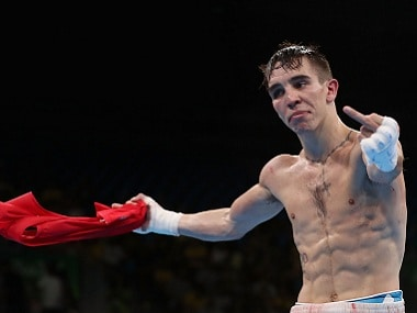Michael Conlan of Ireland makes his displeasure clear after he was adjudged to have lost against Vladimir Nikitin. Getty Images