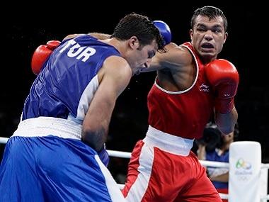 India's Vikas Krishan in action at the Rio Olympics. AP