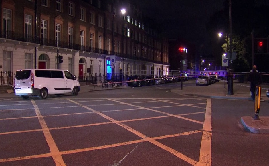 The area where a knife attack happened is cordon off in London on Thursday. The police was called to Russell Square at 10.33 pm local time (2133 GMT) following reports that a man armed with a knife was attacking people. AP