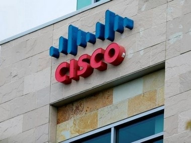 The logo of Dow Jones Industrial Average stock market index listed company Cisco is seen in San Diego, California April 25, 2016.  REUTERS/Mike Blake/File Photo