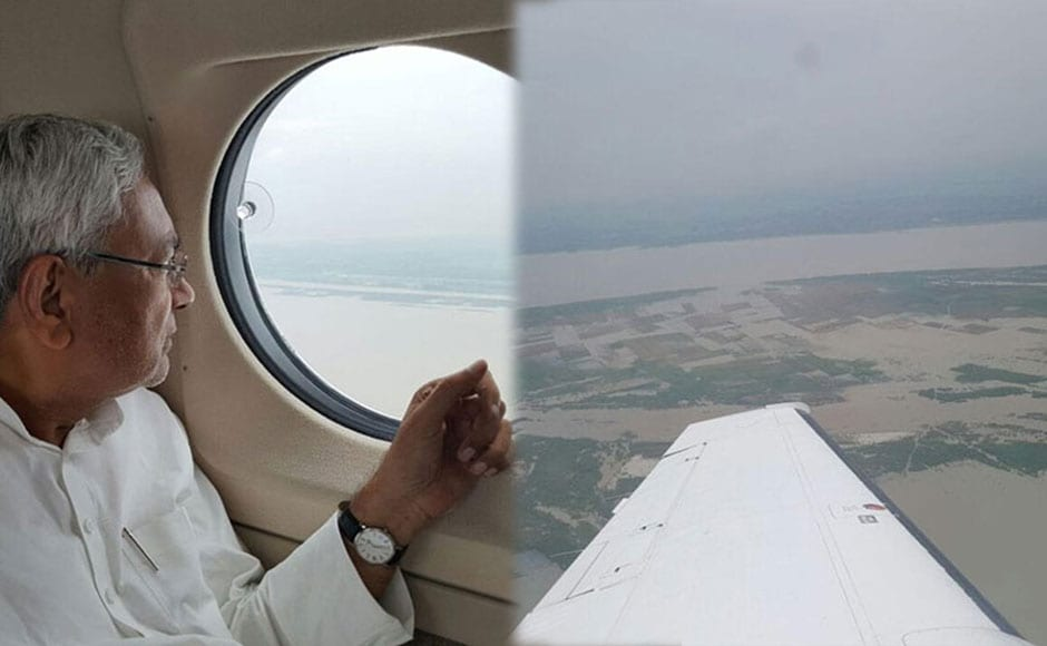 Bihar Chief Minister Nitish Kumar conducted an aerial survey of four districts and held a review meeting with officials at Gaya. He asked them to conduct seamless rescue and relief operations. Photo: Twitter/ @NitishKumar
