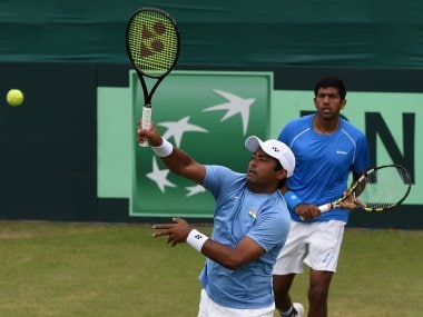 India's Leander Paes and Rohan Bopanna in action in the Davis Cup. AFP