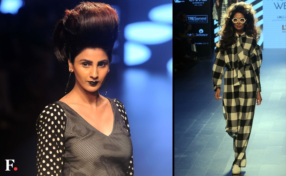 Ashish N Soni showcased black and white prints on fitted yet boxy silhouettes. Sachin Gokhale/Firstpost