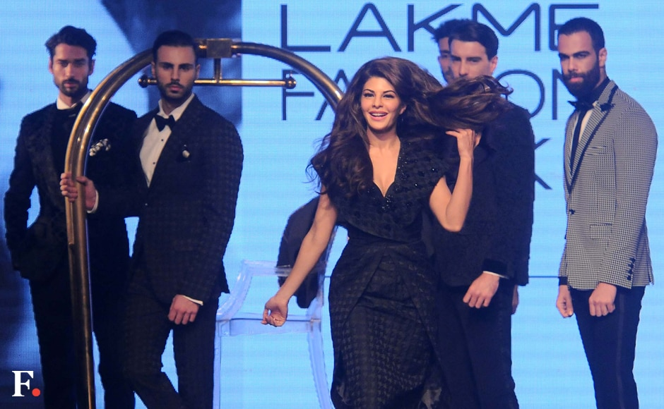 Jacqueline Fernandez, the brand ambassador for TRESemmé India, was the showstopper. She sizzled the runway dressed in a black draped knee length dress. Sachin Gokhale/Firstpost