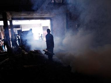 Fogging is on to free an area of mosquitoes. Reuters