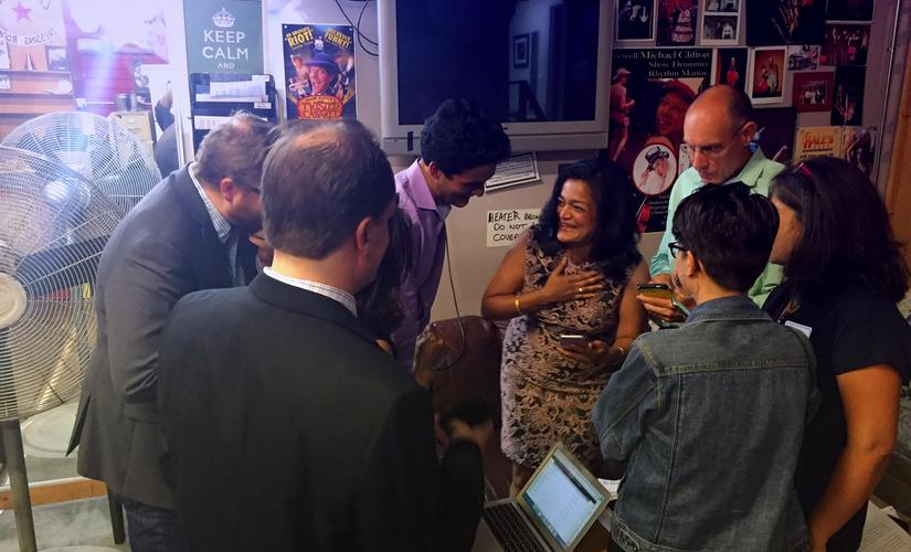 Pramila Jayapal in her campaign office at the moment she learnt she won the primary. Image courtesy J. Toscano