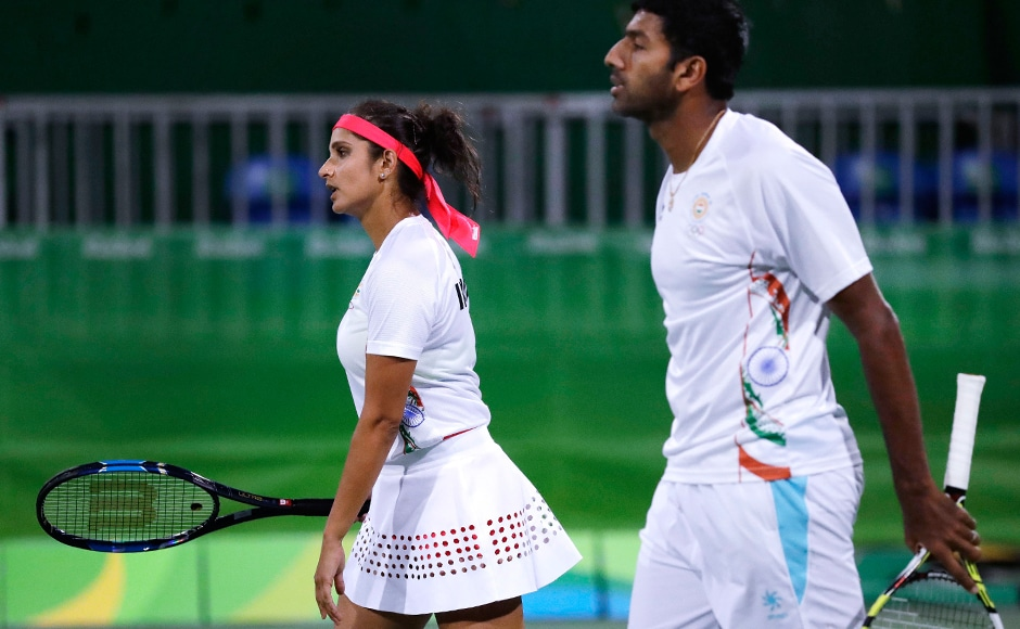 Sania Mirza and Rohan Bopanna won the first set before losing against the United Statesin the mixed doubles semi-final match. They will now play in the bronze medal game. AP