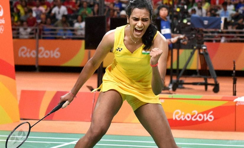 PV Sindhu reacts after winning the first game 21-19. PTI