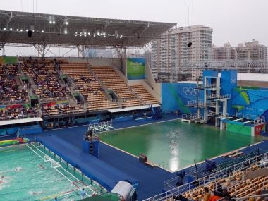 A view of the pool with green water. Getty