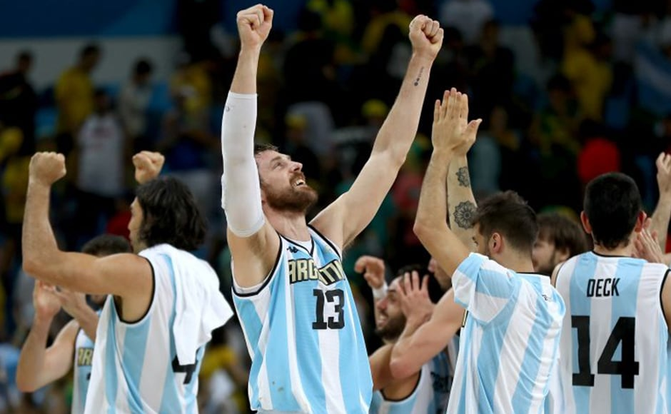Andres Nocioni of Argentina and the rest of this teammates celebrate win over Brazil. Getty Images