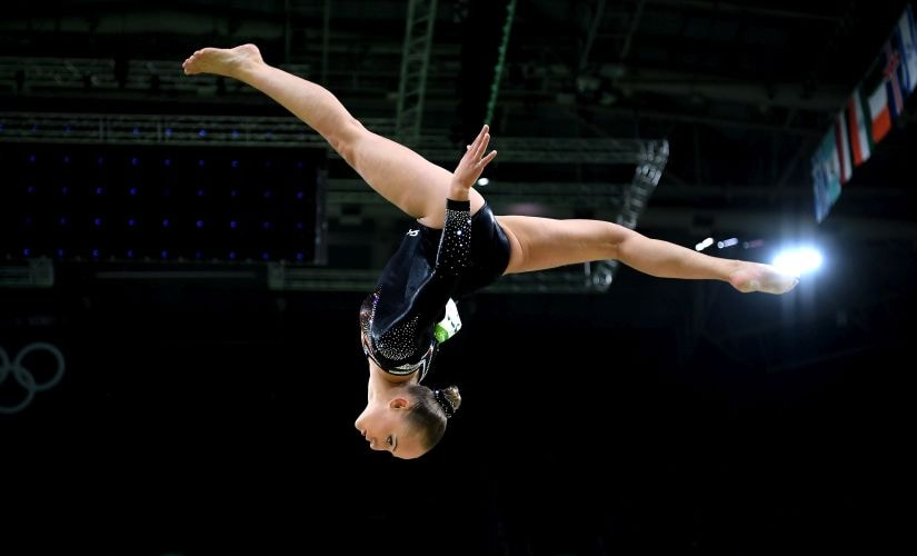 Sanne Wevers competes in the Balance Beam Final. Getty