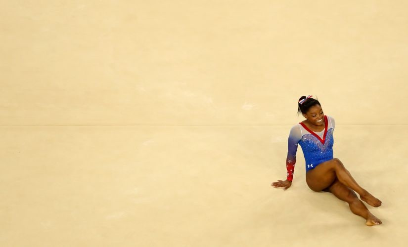 Simone Biles of the United States reacts after competing on the Women's Floor final. Getty
