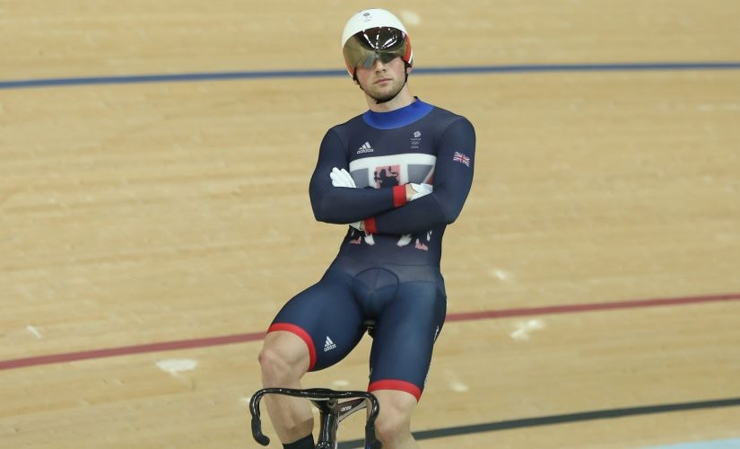 Jason Kenny waits for a ruling in the Men's Keirin Finals. Getty