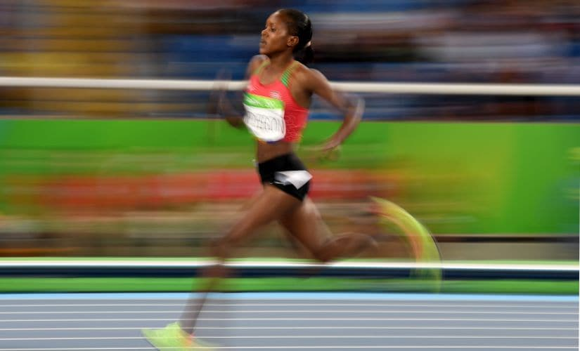 Faith Chepngetich Kipyegon runs on her way to winning the gold medal in the Women's 1500m Final. Getty