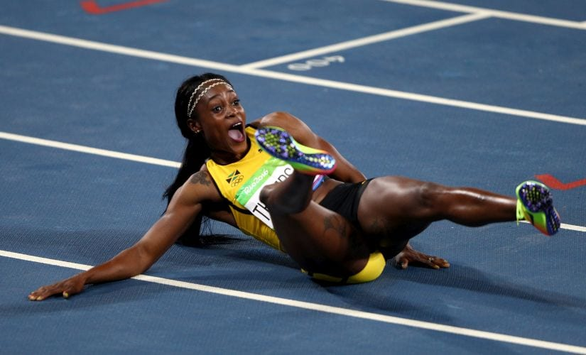 Elaine Thompson reacts after winning the gold medal in the Women's 200m Final. Getty