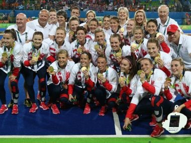 Great Britain celebrate after winning the Gold medal match on penalties against the Netherlands. Getty