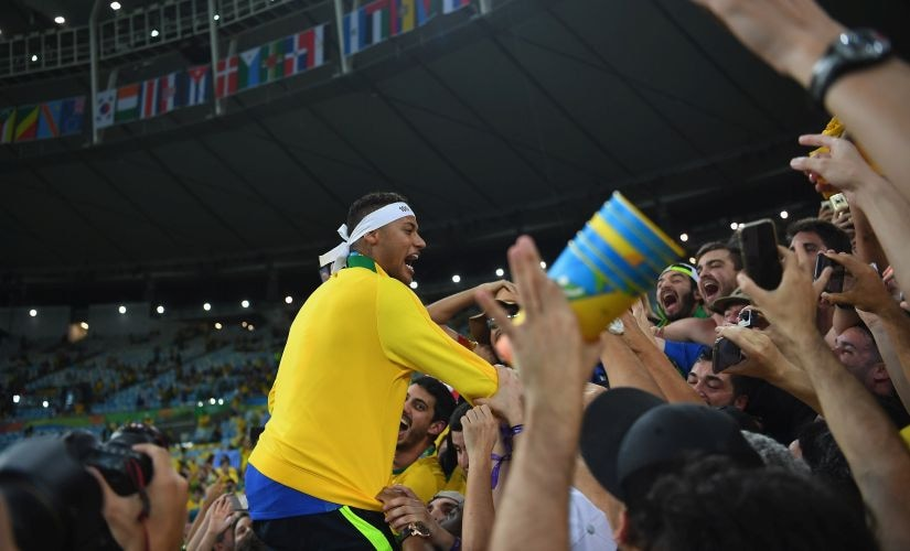 Neymar celebrates withthe fans after the Men's Football Final between Brazil and Germany. Getty