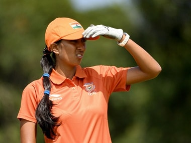 Aditi Ashok of India in action during the third round of the women's golf. Getty Images