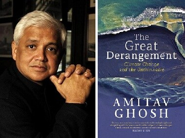 Amitav Ghosh (L); Cover of 'The Great Derangement'