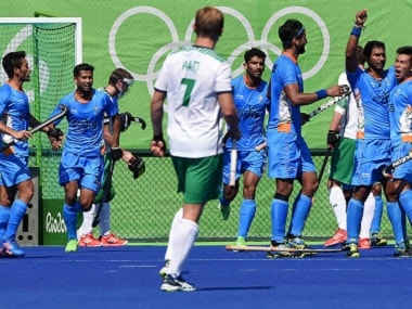 The Indian hockey players celebrate a goal against Ireland. PTI