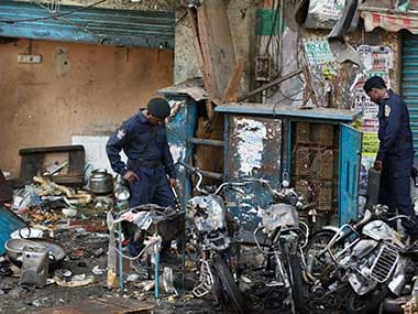 File image of the February blast in Hyderabad. AP