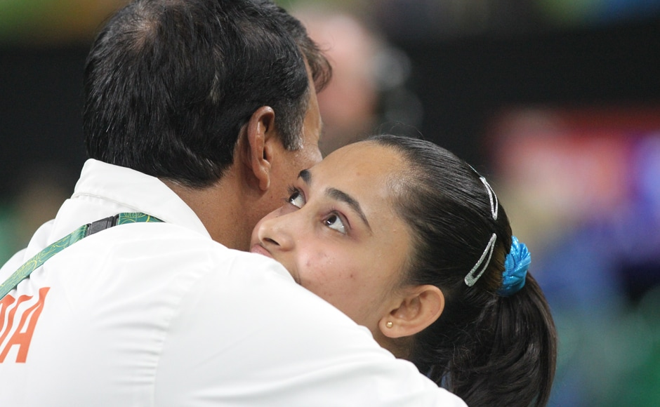 India's gymnast Dipa Karmakar soon dropped to the fourth position, after Simeone Biles brilliant gold-winning attempt, and agonisingly missed out on a medal by a 0.15 point margin. Image courtesy: Norris Pritam