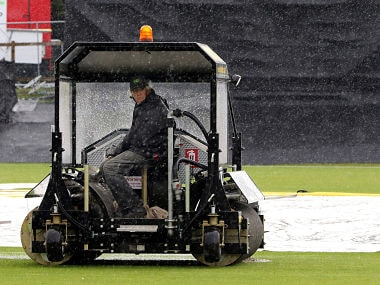 Groundstaff work on the ground as rain holds up play before 2nd Ireland vs Pakistan ODI. AFP