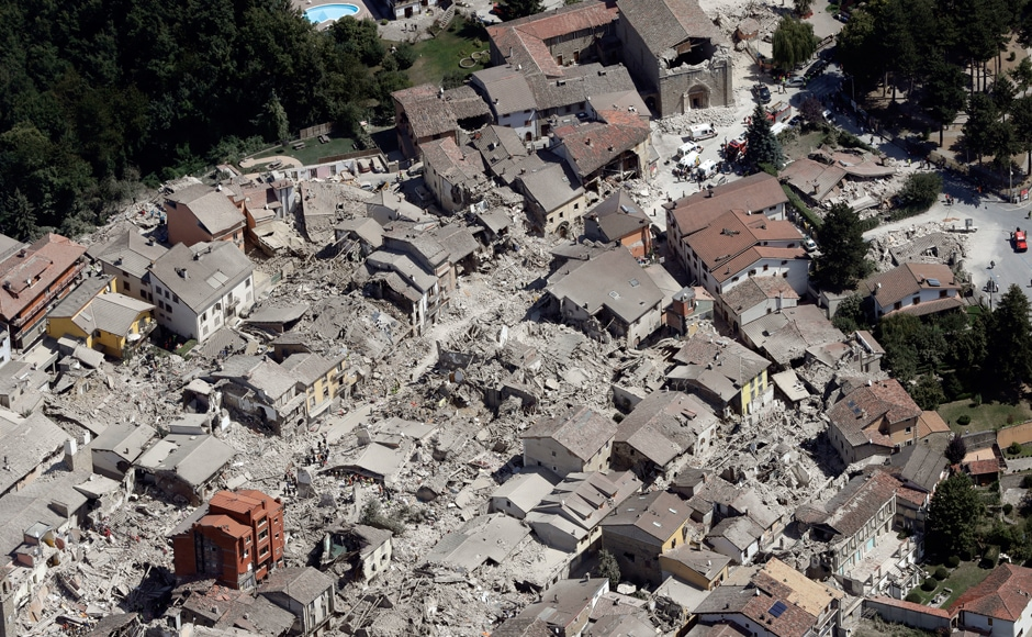 This aerial photo shows the damaged buildings in the historical part of the town of Amatrice, central Italy, after the earthquake. The magnitude 6 quake struck at 3:36 am and was felt across a broad swath of central Italy, including Rome where residents of the capital felt a long swaying followed by aftershocks. AP