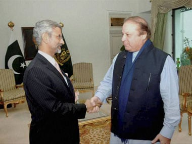 File image of Foreign Secretary S Jaishankar and Pakistan PM Nawaz Sharif. PTI