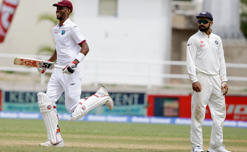 West Indian batsman Roston Chase played a match saving innings of 137 which denied Virat Kohli and co a second straight win over the hosts. AP