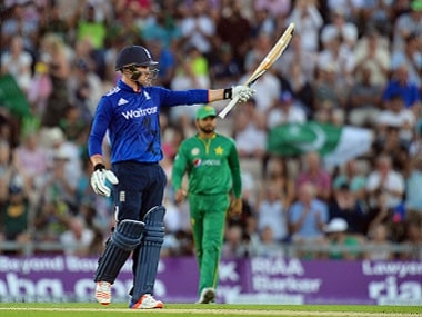 England's Jason Roy celebrates his half-century during the first ODI against Pakistan. AFP