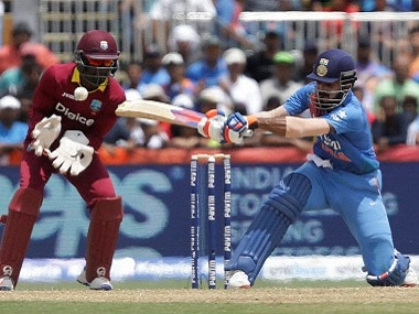 India's Lokesh Rahul plays a shot against West Indies in the first T20I. AP