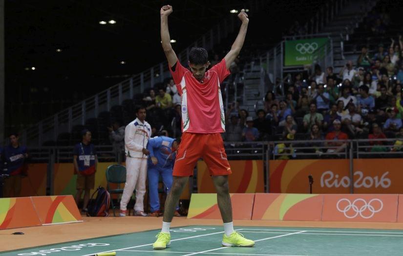 Kidambi Srikath celebrates his win at the Olympics. AP