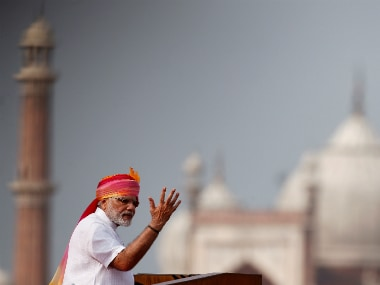 Prime Minister Narendra Modi delivering his Independence Day speech at the Red Fort in Delhi. Reuters