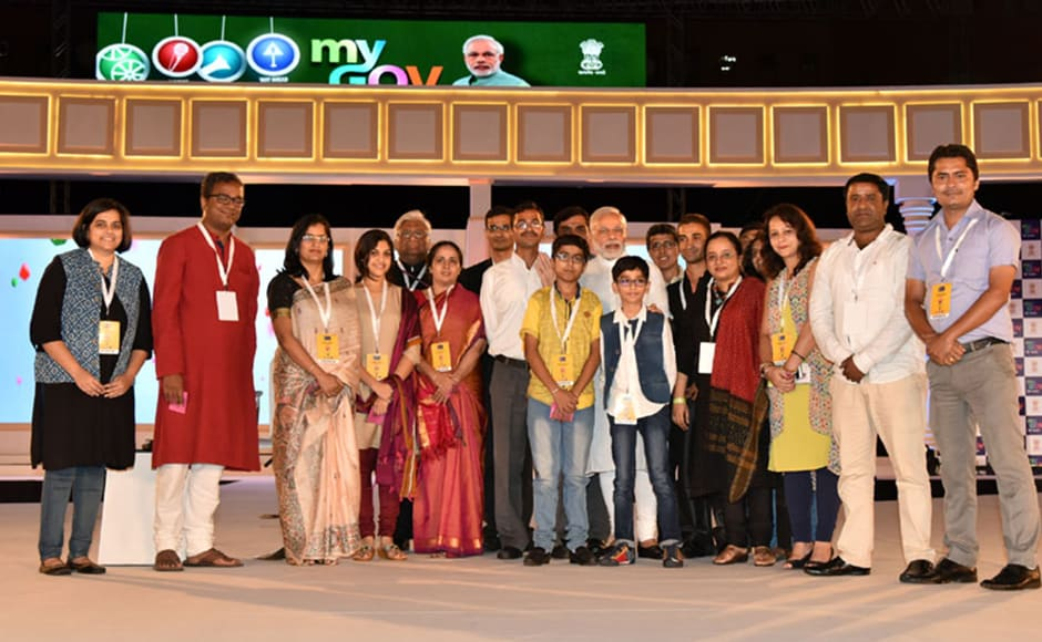 Modi met some of the people who had shared their views on 'Mann Ki Baat' and felicitated winners of 'Ek Bharat Shreshta Bharat' contest. Photo: PIB