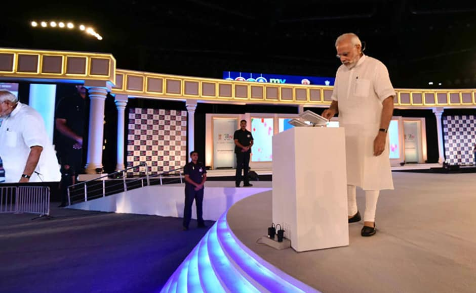 Prime Minister Narendra Modi addressed his first-ever townhall style event on Saturday to mark the two-year anniversary of MyGov (the government's citizen-engagement platform). Photo: PIB