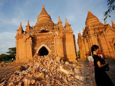 A damaged pagoda is seen after an earthquake in Bagan, Myanmar has damaged close to 400 ancient temples. Reuters